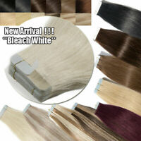 20/40/60pc Russian Skin Remy Tape Glue in Real Human Hair Extension Multi Color