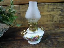 Miniature Glass Oil Lamp pixie fairy wick and Glass Chimney Vintage