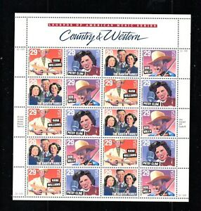 UNITED STATES 1993 SCOTT# 2771-74 COUNTRY & WESTERN COMPLETE SHEET OF 20 MNH, OG