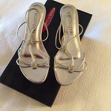 MODA IN PELLE WEDGE SILVER DIAMANTÉ SANDAL SIZE 36 UK3 BNWB