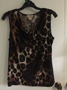 DIANA BELLE Animal Leopard Print Singlet tunic Top XL 16