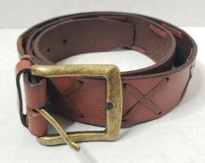 Full Grain Leather Belt Women XL Brown Gold Brass Hardware Buckle Woven X Stitch