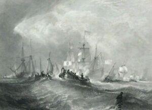c1851 William III Prince of Orange landing at Torbay print after Turner