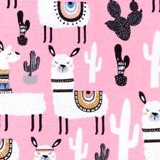 Jersey Baumwolle Stoff Muster - Alpakas - Pink - 150 cm breit - 220 g/m2