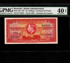 Bermuda 10 Shillings 1937 P-10b * PMG XF 40 EPQ * King George *