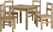 Seconique Panama Dining Set With Wooden Table & 4 Chairs - Solid Wood Furniture