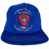 Vintage 80s 1986 Ravena Albany NY Fire Company Firemens Convention Blue Hat Cap