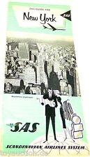 SAS guide pour New York Scandinaves Airlines System Suédois Années 1960# å