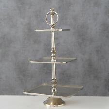 Etagere ERIKA H 50cm Eckig Metall Fabe Silber 3 Etagen Tischdeko Hochzeitsdeko