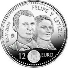 ESPAÑA 12 EUROS 2004 BODA DE LOS PRINCIPES FELIPE Y LETICIA UNC. EN BOLSA
