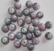75 x Pink and Grey mottled round beads 8mm