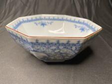 Andrea by Sadek Blue White Octagonal Bowl 6-5/8�