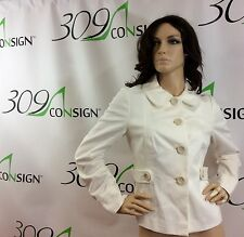 New Boden Women's 8 Medium Ivory Off White Wool Short Tweed Winter Jacket Coat