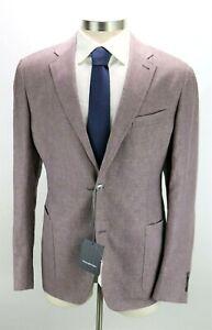 NWT $2495 Ermenegildo Zegna Linen Wool Silk Coat Jacket 46 R (56 EU) Mauve