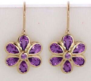 EP038.1 Genuine 9ct SOLID Yellow Gold Natural Amethyst Daisy Blossom Earrings