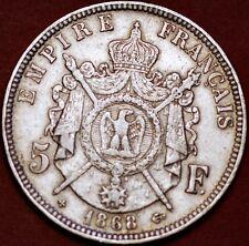 1868 BB 5 Francs silver Napoleon III Strasburg France KM# 799