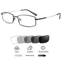 Men's Titanium Alloy Photochromic Gray Sunglasses Reading Glasses +1.00~+4.00