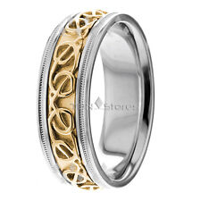 18K Gold Celtic Knot Wedding Bands Rings 8mm Mens Womens Irish Wedding Band Ring