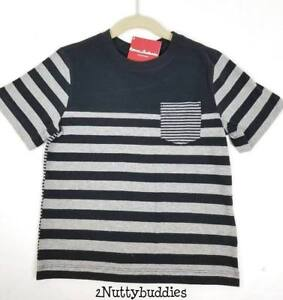 HANNA ANDERSON NWT BLACK/HEATHER GRAY STRIPE COMING & GOING TEE 120 6 7
