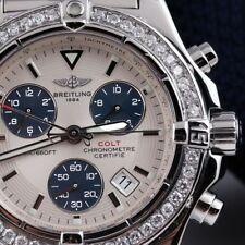 Breitling Chrono Colt Stainless Steel 41mm Watch Custom Set Diamond Bezel A73380