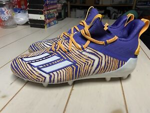 Adidas Adizero Zubaz 10.0 Football Cleats Mens Size 9.5 Purple/solar Gold Lsu