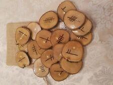 Wood Burned Ash Ogham Runes