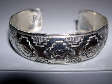 Sgnd~Sterling Silver Navajo Hammered & Tooled Tribal Buffalo Cuff Bracelet~31G