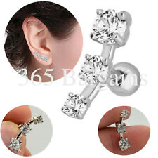 Triple Curve Crystal Cartilage Earring Stud Ear Tragus Earring Helix Steel Stud