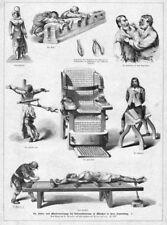 Verhör, Folter, Inquisition, Werkzeuge 1, Original-Holzstich von 1881