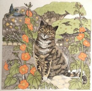 Cat Etching SUZAN TATHAM, Garden Path, Hand Coloured, Signed & Numbered