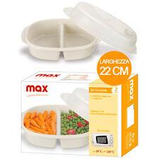Set 2 Contenitori Per Microonde 2 Scomparti 25 cm Cuoci Alimenti Max Italia