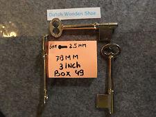 """Vintage 1 Key Blank Uncut  Germany Skeleton 78 mm Millimeters  3 """" Inches (in)"""