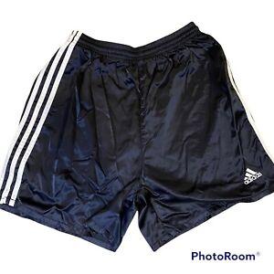 Men's Medium Vintage Adidas Soccer Shorts Slick Black 90s