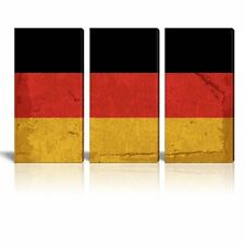 "Canvas Prints Wall Art - 3 Panel Vintage Style German Flag - 24""x12"" x 3"