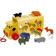 Jeu À encastrer Camion zoo avec Animaux en bois marque Legler