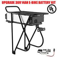 36V 14AH Lithium Battery Rear Rack Li-ion For Electric Bicycle E bike Motor Kit/