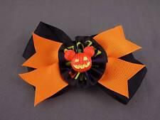 Orange Black halloween bow pumpkin ribbon barrette hair clip alligator claw