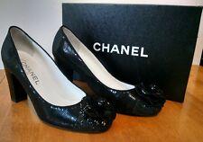 CHANEL Black Sequin CC Logo Camellia Heels, NIB Size 38.5 $1350