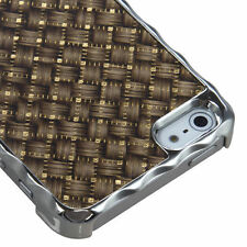 For iPhone 5 5S SE HARD Case Snap On Phone Cover Alloy Chrome Golden Plaid