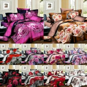 3D Complete Bedding Set Duvet Cover Fitted Sheet & 2 Pillowcases Double & King .