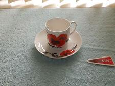 Wedgwood Corn Poppy bone china cup & saucer - Susie cooper England
