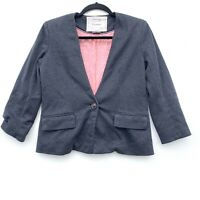 Anthropologie Cartonnier Gray Heathered Blazer One Button Womens Size Small