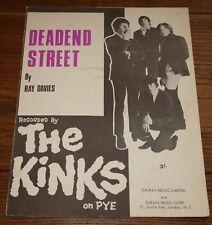 THE KINKS ~ DEADEND STREET ~ ORIGINAL 2-PAGE UK SONG SHEET MUSIC 1966