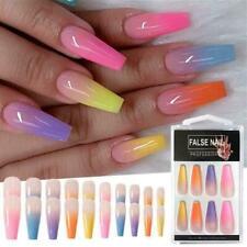 20 pcs Long Coffin Fake Nails European Rainbow Ballerina Full Nail Art Tip