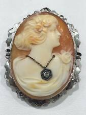 14 KT BEAUTIFUL VINTAGE WHITE GOLD CARVED GODDESS CAMEO PIN/PENDANT #2