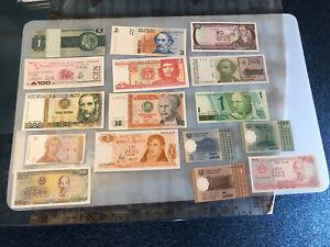 BRASIL,COLOMBIA,ARGENTINA ,CBA Y OTROS,LOTE BILLETES ,UNC,S/C,LOTE DE 16 ,