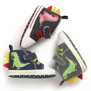 Newborn Baby Boy Dinosaur Pram Shoes Infant High Top First Step Shoes Trainers