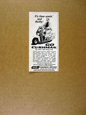 1960 Cushman Road King Scooter man riding photo vintage print Ad