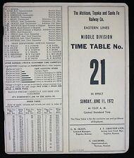 1972 The Atchinson Topeka and Santa Fe Railway Time Table No 21 - Railroad ATSF