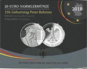 Deutschland 20 Euro 2018 A Sammler/Silbermünze 150. Geburtstag Peter Behrens